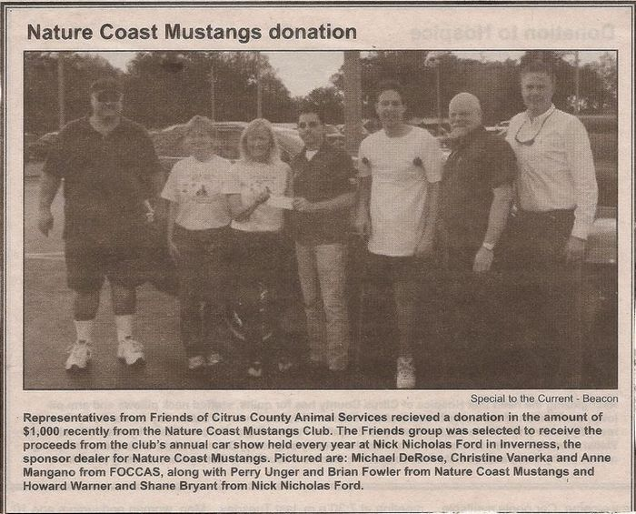 Nature Coast Mustangs charity donation to Friends of Citrus County Animal Services