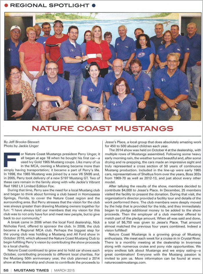 Nature Coast Mustangs $7000 charity donation to Jessie's Place Citrus Count Child Advocacy Center