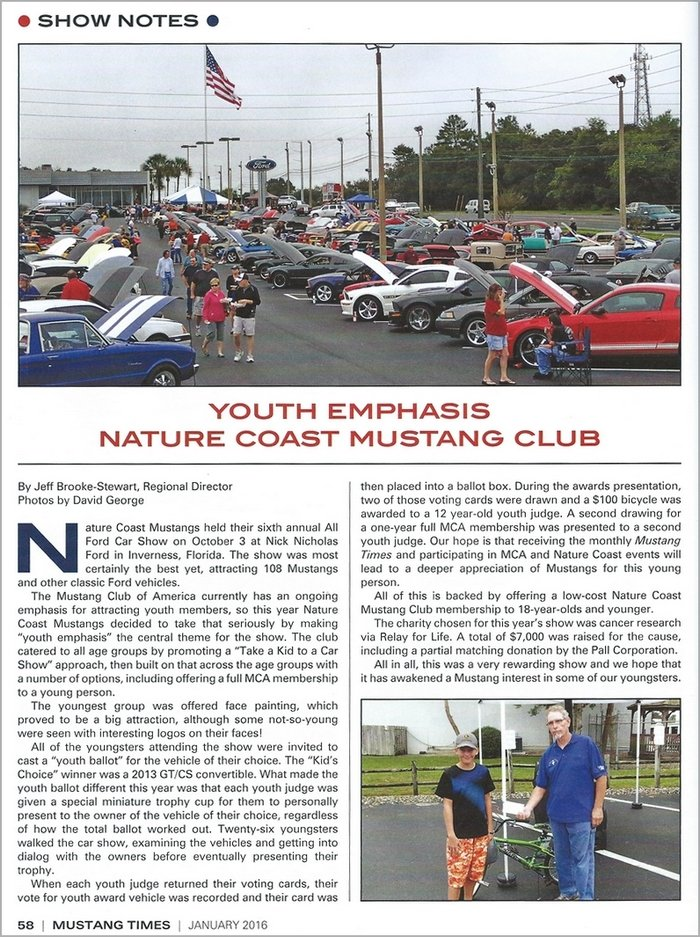 Nature Coast Mustangs $7000 charity donation to Relay For Life in Mustang Times