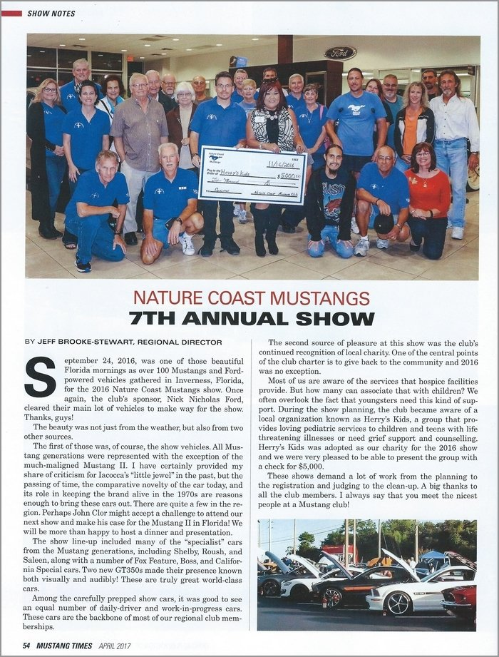 Nature Coast Mustangs $5000 charity donation to Herry's Kids